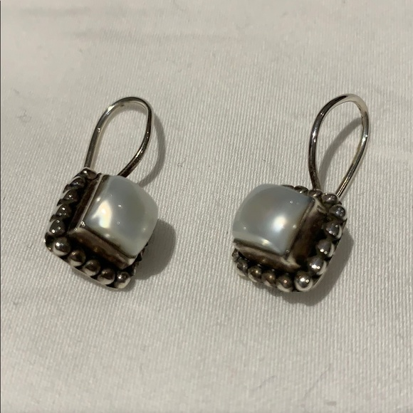 Sterling silver and faux pearl earrings